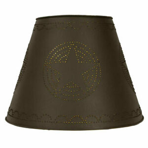 Large Punched Star Lamp Shade In Rustic Brown Tin 17 Inch