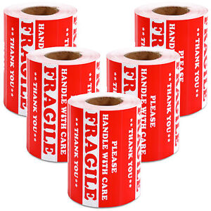 2500 Pieces 3 X 5 Handle With Care Fragile Label Sticker Self Adhesive Warning