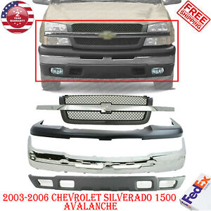 Front Bumper Chrome Low Up Cover Grill For 2003 2006 Chevy Silverado 1500