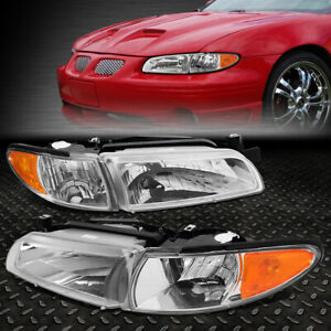 For 97 03 Pontiac Grand Prix Oe Style Chrome Housing Amber Corner Headlight Lamp