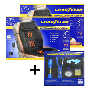 Goodyear 12v Heated Auto 2 Seats Cushionuniversal Fit Black Car Automotive Kit