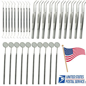 Usa 10set Dental Dentist Mirror Explorer Remover College Plier Kit Instruments