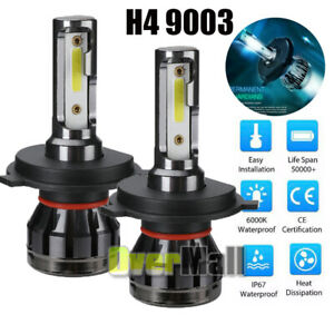 Pair 2 sides H4 Hb2 9003 Led Headlight Kit 3000w 6000k 400000lm Hi lo Beam Bulbs