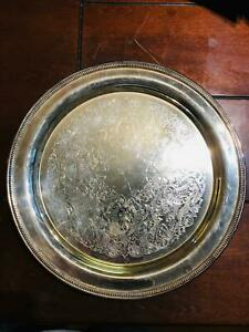 Vintage Oneida Usa Silver Plated Round Serving Tray 12 1 2 Diameter