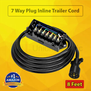 7 Way Trailer Plug Wire Connector Inline Cord W 7 Gang Junction Box Rv Blade