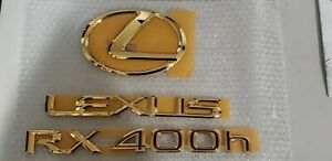 Fits New Lexus Rx400h Complete Emblem Rear Trunk Kit Word Gold 2006 2007 2008