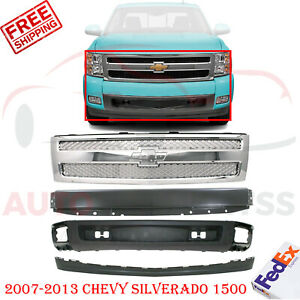 Front Bumper Primed chrome Grille Valance For 2007 2013 Chevy Silverado 1500
