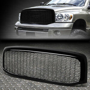 For 06 09 Ram 1500 2500 3500 Glossy Black Honeycomb Mesh Front Bumper Grille