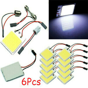 6x 48smd Cob White Panel Led T10 Car Interior Panel Light 12v Dome Lamp Bulb Do