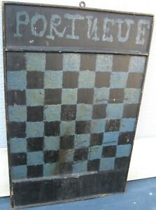 Antique Late 1800 S Wooden Gameboard Checkerboard In Old Blue Black Paint