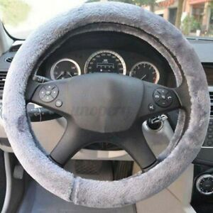 Universal Black Warm Soft Fuzzy Plush Car Auto Steering Wheel Cover Winter