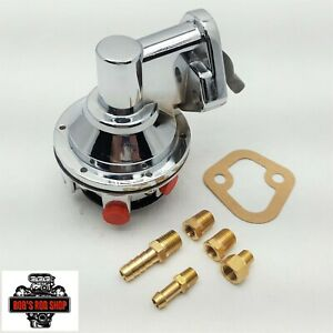 Small Block Chevy Chrome Fuel Pump Mechanical 80 Gph Sbc 305 350 400 Fittings