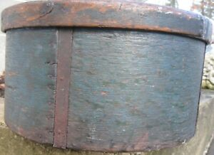 Antique Spectacular Xl Thick Walled Grain Measure In Old Blue Paint 15 1 2