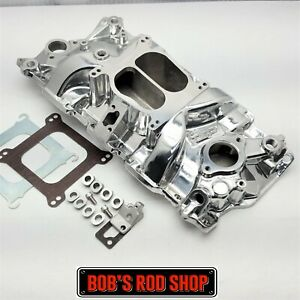 Small Block Chevy Polished Aluminum Intake Manifold Dual Plane 350 400 1955 95