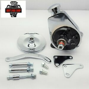 Sb Chevy Chrome Saginaw Power Steering Pump Bracket Pulley Kit Sbc 350 400 305