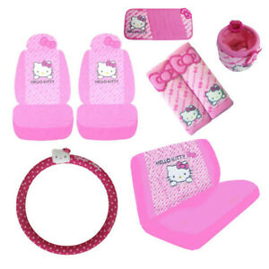 11pc Sanrio Hello Kitty Front Back Car Seat Covers Steering Wheel Cover Lot More