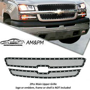 For 2002 05 Chevy Silverado Avalanche Stainless Black Rivet Mesh Grille Insert