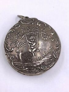 Antique Victorian Sterling Silver Round Snuff Pill Box Chatelaine
