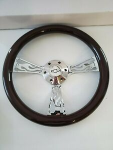 14 Chrome Flame Fire Wood Steering Wheel With Chevy Horn Button Billet