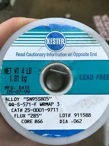 Kester Soldering Wire 4 Lb Spool Sn95sb05 062 Lead And Halogen Free
