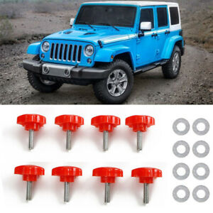 8x Red Hard Roof Screws Quick Removal Bolt Fastener Fit Jeep Wrangler Jk 07 17
