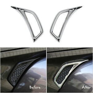 Chrome Abs Car Leaf Plate Air Inlet Trim Cover For 2018 Jeep Wrangler Jl Pair
