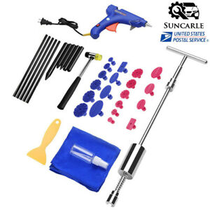 36pcs Auto Body Tools T Bar Glue Gun Kit Paintless Dent Repair Hail Removal Tool