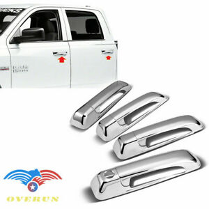 For 2009 2018 Ram 1500 2500 3500 4pcs Chrome Door Handle Cover Overlay No Psh Kh