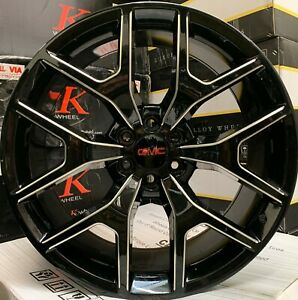 22 Gmc Yukon Sierra Denali Gloss Black Milled Wheels Chevy Tahoe Silverado Rims
