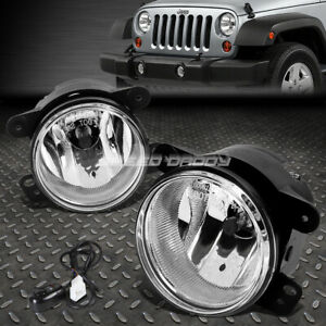 For 07 17 Jeep Wrangler Jk Clear Lens Oe Bumper Fog Light Lamp Pair switch Kit