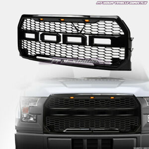 For 2015 2017 Ford F150 Black Front Hood Bumper Grille amber Led V2