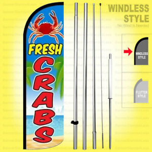 Fresh Crabs Windless Swooper Flag Kit 15 Tall Feather Banner Sign Bq h