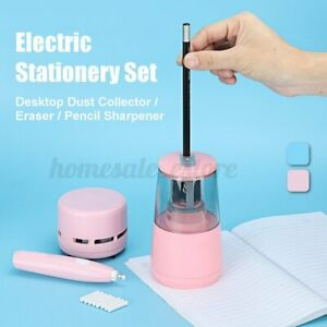 Student Stationery Set Electric Pencil Sharpener Eraser Desk Vacuum