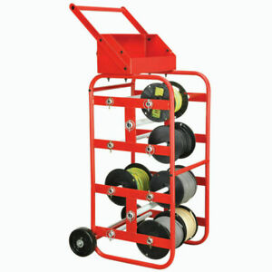 Portable Wire Spool Reel Caddy 8 Axle Multi Rack Cable Cart Width Wheels Handle