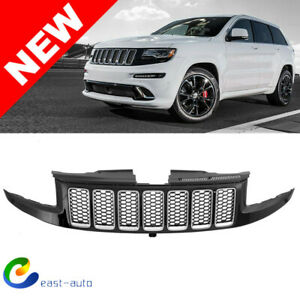 For 14 16 Jeep Grand Cherokee Srt Srt8 Style Front Grille Unpainted Black Chrome
