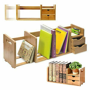 Bamboo Desktop Storage Rack Display Desk Shelf Organizer Counter Bookcase Drawer