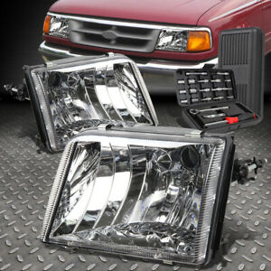For 93 97 Ford Ranger Chrome Housing Headlight Replacement Head Lamps Tool Set