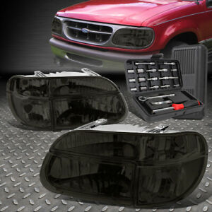 For 95 01 Ford Explorer Smoked Clear Side Turn Headlight Bumper Lamps Tool Set
