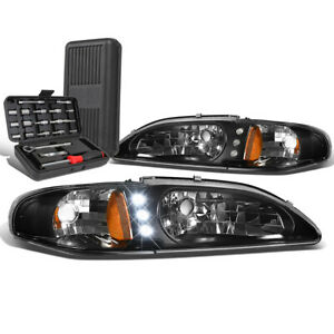 For 1994 1998 Ford Mustang Led Drl Tube Black Amber Side Headlights Tool Box