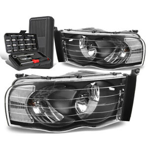 For 2002 2005 Dodge Ram Pickup Pair Black Clear Signal Headlight Lamps Tool Box