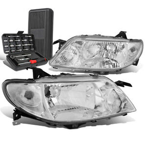 For 2001 2003 Mazda Protege Pair Chrome Housing Clear Signal Headlight Tool Box