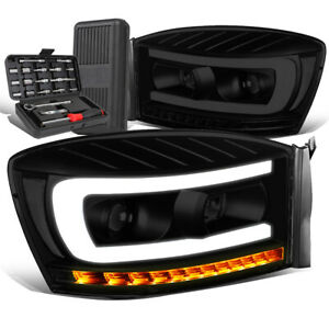 For 2006 2009 Dodge Ram Led Sequential Smoked Clear Projector Headlight Tool Box