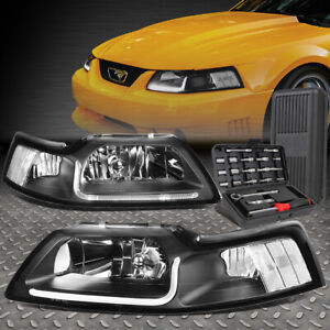 For 99 04 Ford Mustang Led Drl Black Housing Clear Corner Headlights tool Set