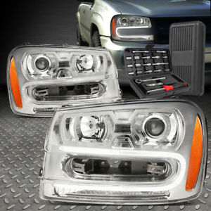 For 02 09 Chevy Trailblazer Led Drl Chrome Amber Projector Headlights Tool Set