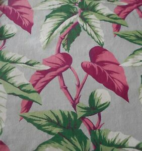 Antique Vintage Palm Leaf Barkcloth Cotton Fabric Maroon Pink Green Gray