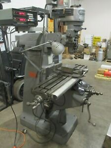 Used Bridgeport Milling Machine With Acu rite 2 axis Dro 6 Vise Worklight