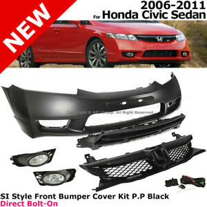 Si Style Complete Front Bumper Fascia Kit Grille Fog Lamps For Civic 06 11 4d