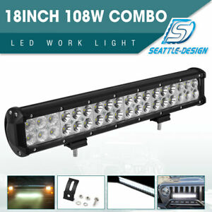108w 18 Led Work Light Bar Spot Flood Combo Offroad Driving For Truck 4wd Suv