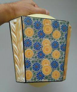 Rare 1920s Art Deco Glass Ceiling Light Shade With Floral Print