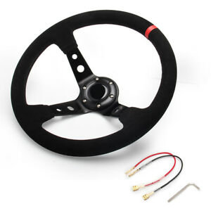 Racing Universal 350mm 14 6 Bolt Car Steering Wheel Horn 95mm Deep Dish Suede
